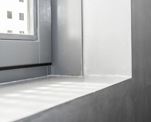 Badkamer beton cire hoekwerk